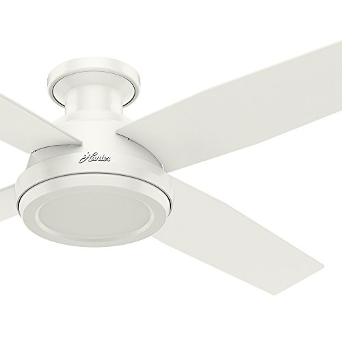 Hunter Fan 52 inch Contemporary Low Profile No Light Fresh White Ceiling Fan with Remote Control (Renewed)