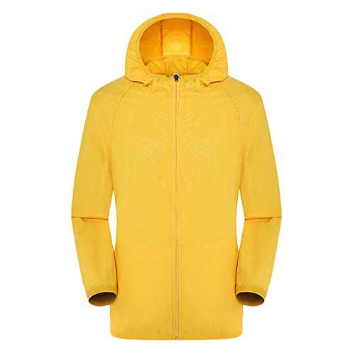 AKAIDE Herren Damen Jacken Casual Langarm Leicht Windbreaker Outdoor Kapuzen Jersey Sonnenschutz Kleidung Haut Winddicht Ultraleicht Regendicht Top Gr. XXXL, gelb