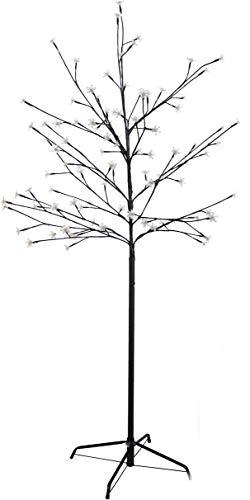 Spetebo 96 LED Blütenbaum - Höhe ca. 150 cm - Kirschblütenbaum mit 96 warmweißen LEDs - Batterie betrieben und mit Timer (6 Stunden an, 18 Stunden aus)