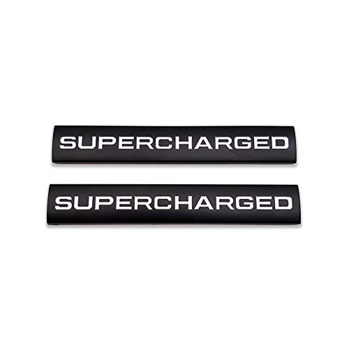 2X Metal Supercharged Logo Car Emblem Premium Auto Badge Rear Trunk Sticker Side Fender Decal (Black&White)