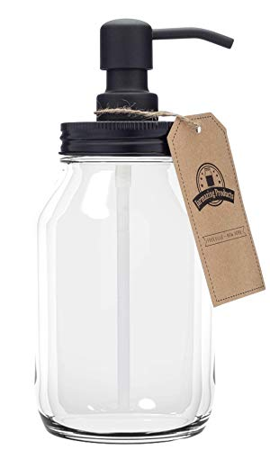 Jarmazing Products Quart-Size Mason Jar Soap Dispenser - Black - with 32 Ounce Clear Mason Jar