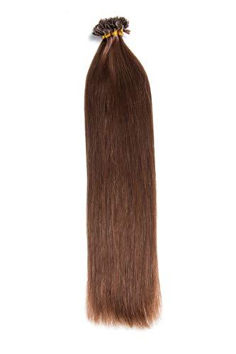 Schokobraune Bonding Extensions aus 100% Remy Echthaar - 25x 1g 60cm Glatte Strähnen - Lange Haare mit Keratin Bondings U-Tip als Haarverlängerung und Haarverdichtung in der Farbe #4 Schokobraun