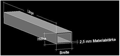 Aluminium Rechteckrohr L/änge 2000 mm 80x40x4 mm