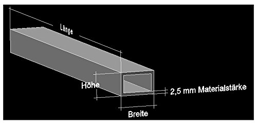 Alu Rechteckrohr 60 x 40 x 2,5 mm Aluminium AlMgSi0,5 Profilrohr Profil Aluprofil Rohr (600 cm (6 Stck. á 100 cm))