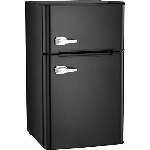Antarctic Star Compact Mini Refrigerator Separate Freezer, Small Fridge Double 2-Door Adjustable Removable Retro Stainless Steel Shelves Garage Camper Basement/Dorm/Office 3.2 cu ft.Black