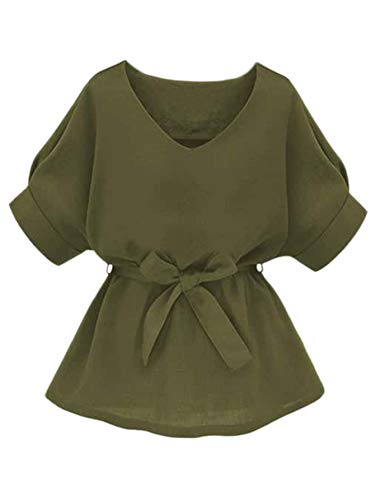 Milumia Women's Casual V Neckline Self Tie Short Sleeve Work Blouse Tunic Tops Olive X-Large