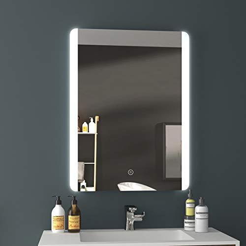 EMKE Badezimmerspiegel 60x80cm LED Badspiegel mit Beleuchtung kaltweiß Lichtspiegel Wandspiegel mit Touchschalter + beschlagfrei IP44 energiesparend