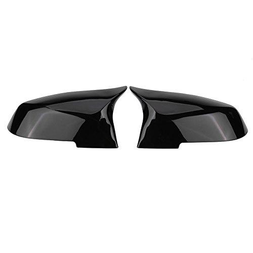 Keenso Auto Spiegelkappen, 1 Paar Auto Tür Außenspiegelkappe Rückspiegelkappe Seitenspiegel Abdeckungen für 220i 328i 420i F20 F21 F22 F30 F32 F33 F36 X1(Schwarz glänzend)