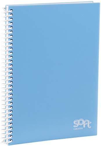 Carchivo - Cuaderno libreta con tapas de polipropileno, tamaño A6, serie Soft, color azul pastel