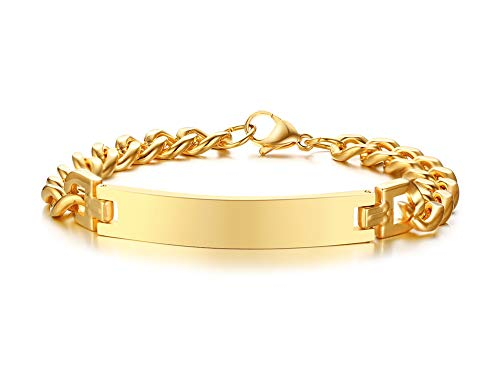 VNOX Men's Stainless Steel Customized Personalized Link Cuff Bracelet,Gold Free Engraved 21.5cm