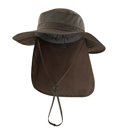Home Prefer Outdoor UPF50+ Mesh Sun Hat Wide Brim Fishing Hat with Neck Flap (Army Green)