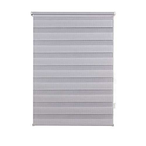Doppelrollo Klemmfix ohne Bohren Seitenzugrollo Klemmen Sichtschutz Sonnenschutz Blickdicht Fenster innen 80x210 cm Grau