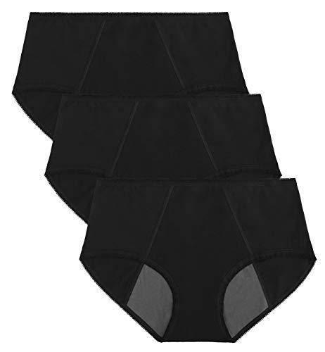 TUTUESTHER Damen Perioden Schlüpfer Menstruation Unterwäsche Auslaufsicher Höschen aus Baumwolle Absorbierend Unterhose Slip(XXXL-EU 48, 3 Schwarz)