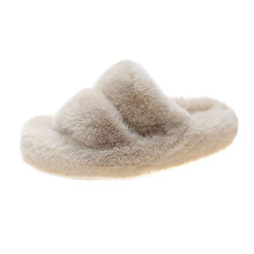 Pantuflas de felpa para mujer, de dos bandas, de forro polar suave, para interiores y exteriores, zapatillas de vestir de suela gruesa, zapatos de mujer para otoño e invierno, color blanco, 37