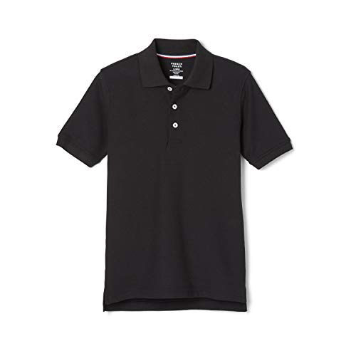 French Toast Boys' Short Sleeve Pique Polo, Black, Large/14/16/ Husky