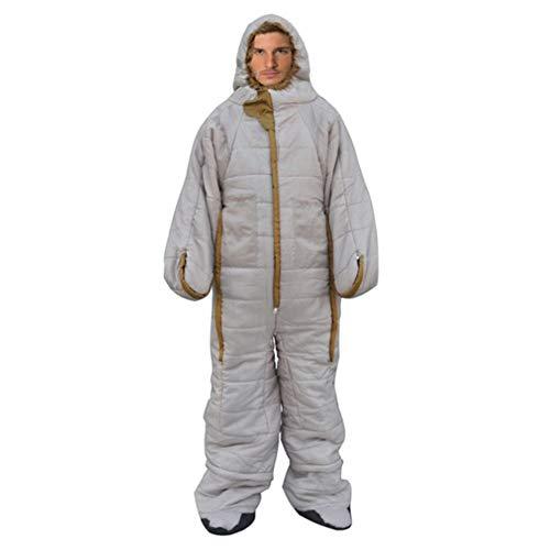 CTEGOOD Saco de Dormir de Cuerpo Completo usable Adultos Sacos de Dormir de 3 Estaciones con Orificios para Brazos/piernas Forma Humana,para acamparBeige-L