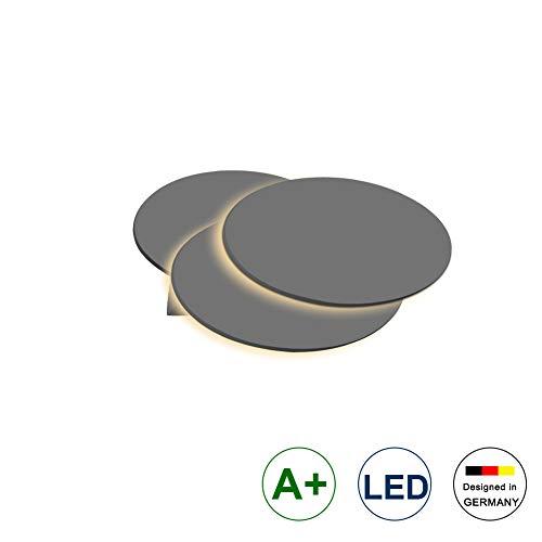 Klighten LED Wandlampe Wandbeleuchtung,12W,IP 20,LED Flur Wohnzimmer Lampe,Dunkelgrau Aluminium Schale,3000K Warmweiß