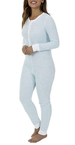 Fruit of the Loom Women's Waffle Union Suit, Teal Tiger Heather, X-Small/Small
