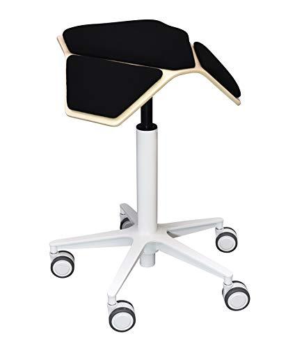 ILOA+ Snow - Taburete ergonómico con ruedas de madera escandinava, para oficina o casa, diseño myKolme color negro