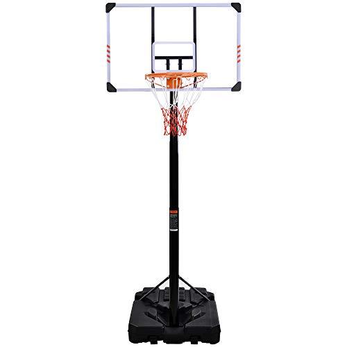 Merax - Canasta de baloncesto ajustable con ruedas, base rellenable con agua/arena, canasta de altura regulable de 225 a 305 cm, exterior e interior para adultos/niños.