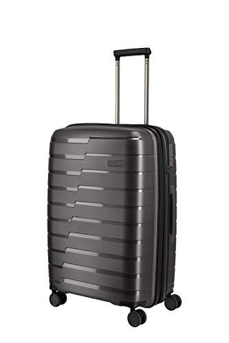 travelite 4-Rad Koffer M mit Dehnfalte + TSA Schloss, Gepäck Serie AIR BASE: Funktionaler Hartschalen Trolley im coolen Look, 075348-04, 67 cm, 71 Liter (erweiterbar auf 82 Liter), anthrazit (grau)