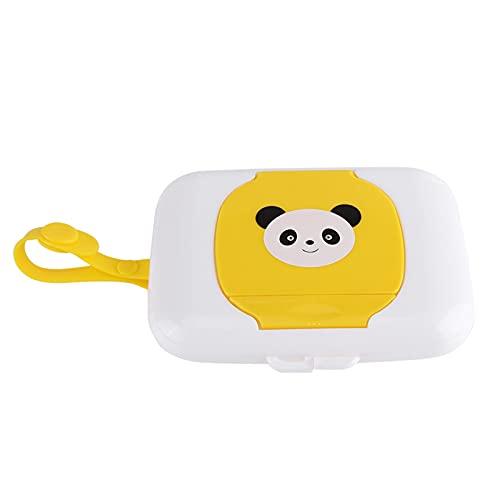 Caja de toallitas húmedas, caja de almacenamiento de pañuelos de plástico, dispensador de papel higiénico con cinturón de silicona portátil, para oficina en casa (blanco + rosa)