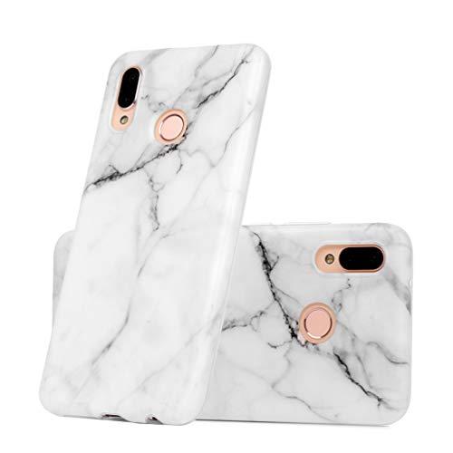 MUSESHOP Cover Huawei P20 Lite Marmo Custodia (processo IMD) Morbido Silicone TPU Flessibile Gomma Opaco Case Protettiva Antiscivolo Satinato Ultra Sottile - Blanco Grisáceo