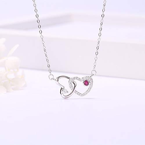 NHGF Collar de Mujer, Collar de corazón de Anillo Doble, Cadena de clavícula Corta de Plata esterlina S925 con Corazones de Diamantes(Platinum Heart Necklace)