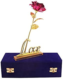 MSA JEWELS Artificial Rose And Love Stand In Velvet Gift Box (Pink, 1 Piece)