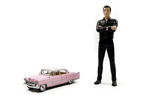 Greenlight Collectibles- Cadillac 1 64 1955 - Vehículo en Miniatura + Figura Elvis Presley, 29898-18, Negro, Escala 1/18