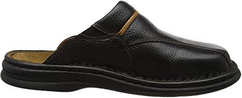 Josef Seibel Klaus Herren Clogs | Echtleder-Herrenschuhe für drinnen und draußen | Komfort-Schuhe aus Rindsleder, Schwarz (611 schwarz/cognac), 46 EU