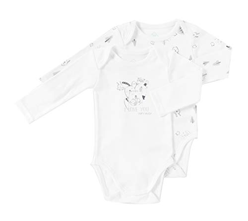 TEX Bodyshirt, langärmlig, bedruckt, Unisex, Bio, 2 Stück, Grau 23 Monate