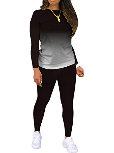 Tie Dye Sweatsuit for Women 2 Piece Outfits Plus Size Casual Long Sleeve Tops and Pants Jogging Suits Loungewear Sets Black L