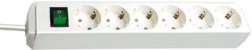 Brennenstuhl Eco-Line, Steckdosenleiste 6-fach (Steckerleiste mit Schalter und 3m Kabel, Mehrfachsteckdose besonders stromsparend) weiß
