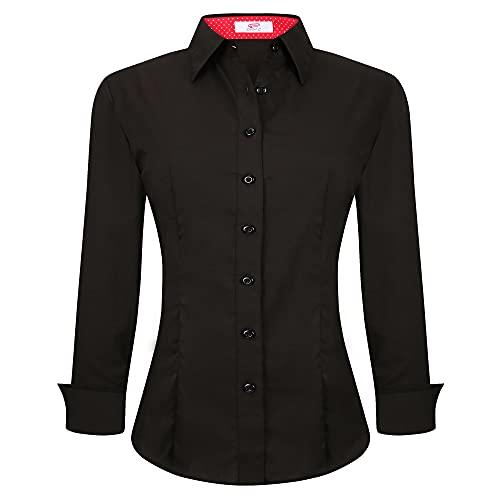 Esabel.C Womens Button Down Shirts Long Sleeve Regular Fit Cotton Stretch Work Blouse Black M