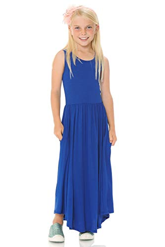 Pastel by Vivienne Honey Vanilla Girls' Sleeveless Long Dress with Pockets Full Skirt and Removable Label X-Large 11-12 Years Royal Blue