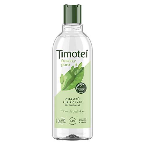 Timotei champú Purificante para cabello con tendencia grasa con extracto de té verde orgánico con limpiadores de origen vegetal 95% ingredientes de origen natural y sin siliconas 400ml
