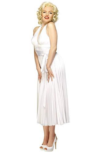 Smiffy'S 30355 Disfraz De Marilyn Monroe Con Vestido Sin Espalda, Blanco, Tamaño Único