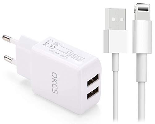 OKCS 10W Ladegerät und 1m USB Ladekabel kompatibel für iPhone 12, XS, XR, XR Max, X, 8, 8 Plus, 7, 7 Plus etc. - Weiß