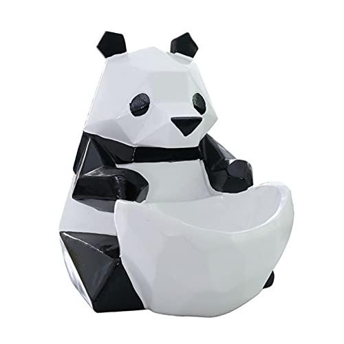 Tazón para llaves, estatua de panda, decoración de panda, caja de almacenamiento para llaves de puerta, adorno de llave, puede poner cambio, joyas, lápiz labial, aspecto de panda