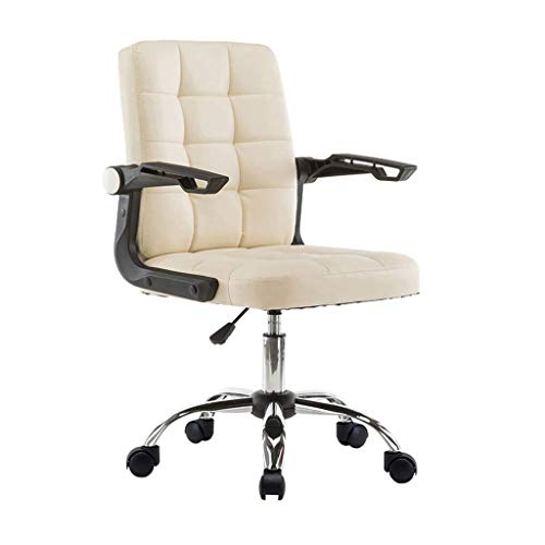 ZHJBD Meubelkruk/bureaustoel hoge rug computer bureaustoel, PU lederen verstelbare stoel Ergonomische baas Executive management Swivel Task stoel met armleuningen Off wit