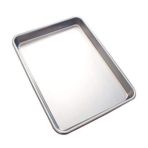 Hosuho - Bandeja de horno rectangular de aluminio, resistente al calor, 33 x 46 x 2,5 cm, antiadherente, color plateado