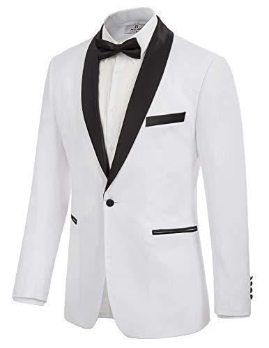 Men's Prom Tuxedo Blazer Suit Satin Shawl Lapel Dinner Jacket White 2XL