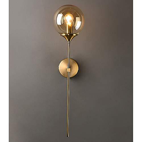MZStech Aplique montado en la pared industrial vintage, globo de cristal Ámbar con lámpara de pared dorada de brazo largo, luz de pared dorada para la cabecera (Ámbar)