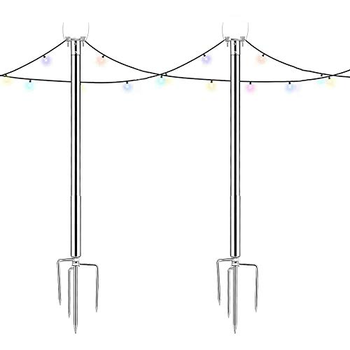 Antybaby String Light Poles for Outdoors Stainless Steel Light String Connection Pole for LED Hanging Solar Bulbs, Patio, Garden, Christmas