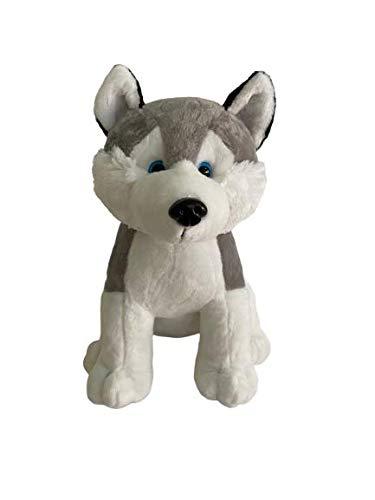 Cachorro Husky de pelúcia sentado olhos azuis 30cm