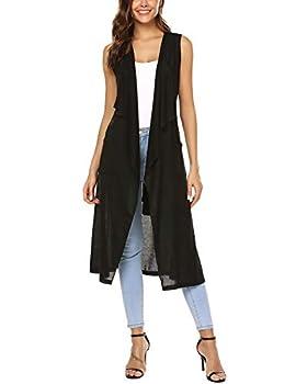 URRU Women s Long Sleeveless Trench Coat Cardigan Sweater Vest with Belt Black L