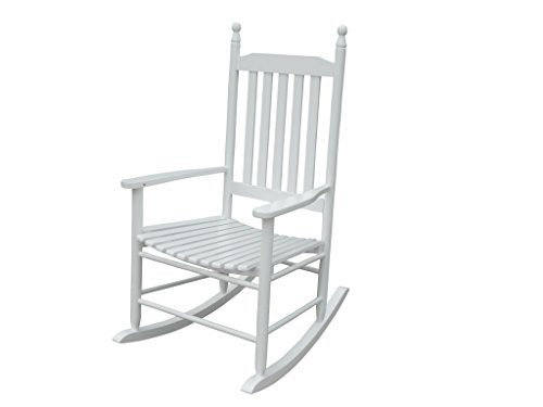 elbmöbel elbmöbel.de - Mecedora (115 x 62 x 84 cm, madera), diseño rústico, color blanco