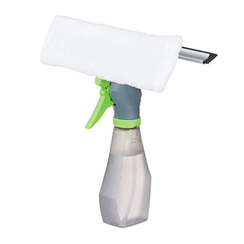 Relaxdays, Grau Fensterabzieher mit Sprühfunktion, mit Einwascher & Abziehlippe, 3-in-1-Funktion, HBT 27 x 24,5 x 9 cm, Standard