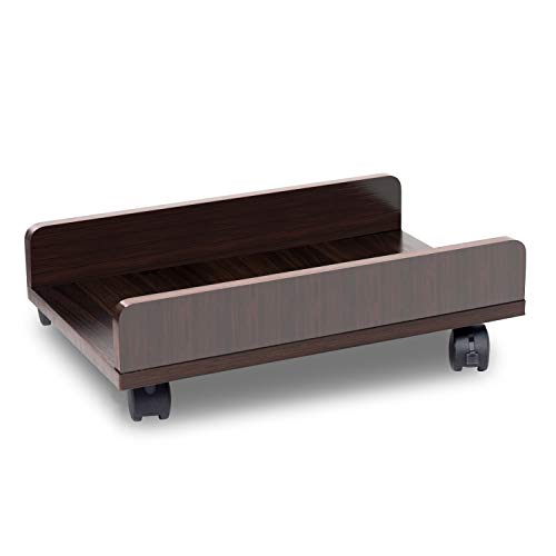 Bestier Computer Tower Stand CPU Stand Cart with Protective Sides CPU Holder with 4 Caster Wheels Under Desk (Brown)